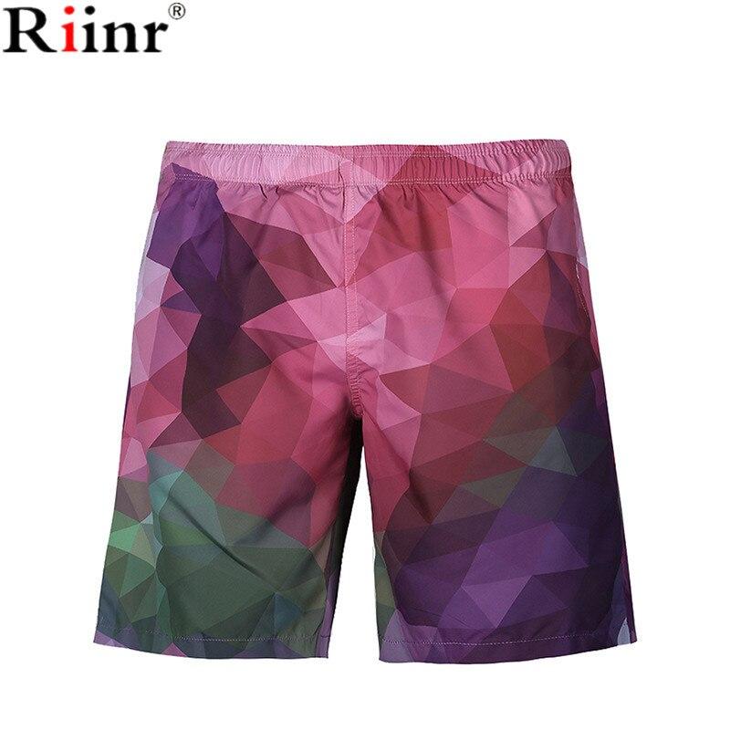 Riinr 2018 Casual New Arrival Beach Men's   Shorts   Triangle Geometric Printing Design Polyester Knee Length Pants   Board     Shorts   Men