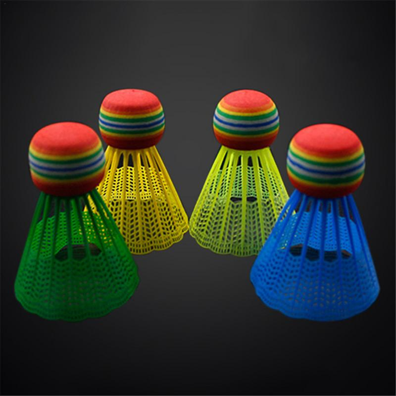 10 PCS/Pack Badminton EVA Rainbow Ball Head Nylon Badminton Feathers for Game Sport Entertainment with Transparent Barrel