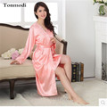 Robes Women Pink Bathrobe Long Silk Robe Gown Sleepwear Sling Robe Sets