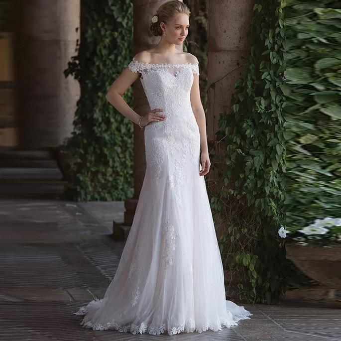 Princess Wedding Dress Off The Shoulder Boat Neck Boho Mermaid Appliques Vestido De Noiva Train Bridal Gown Free Shipping