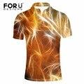 FORUDESIGNS Мужчины Polo Рубашки 3D Красочные Коротким Рукавом Прохладный Мерсеризованный Хлопок Slim Fit Повседневная Бизнес Мужчины Рубашки Люксовый Бренд