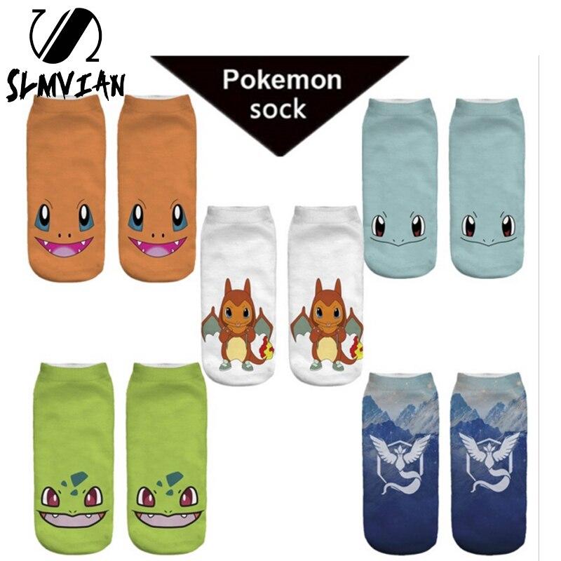 SLMVIAN Pokemon Pikachu Fashion Young 3D Printed Printed Meias Women's Socks Low Cut Ankle Sock Calcetines Go Hosiery Socks