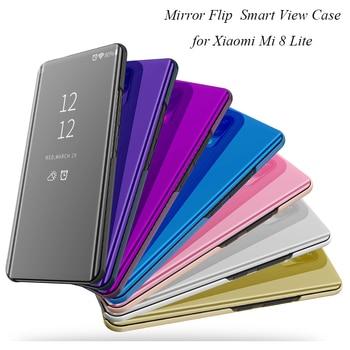 Mi8 Lite Smart Mirror Case For Xiaomi Mi 8 Lite Case Clear View Flip Stand PU Leather Cover For Xiaomi 8 Lite Case