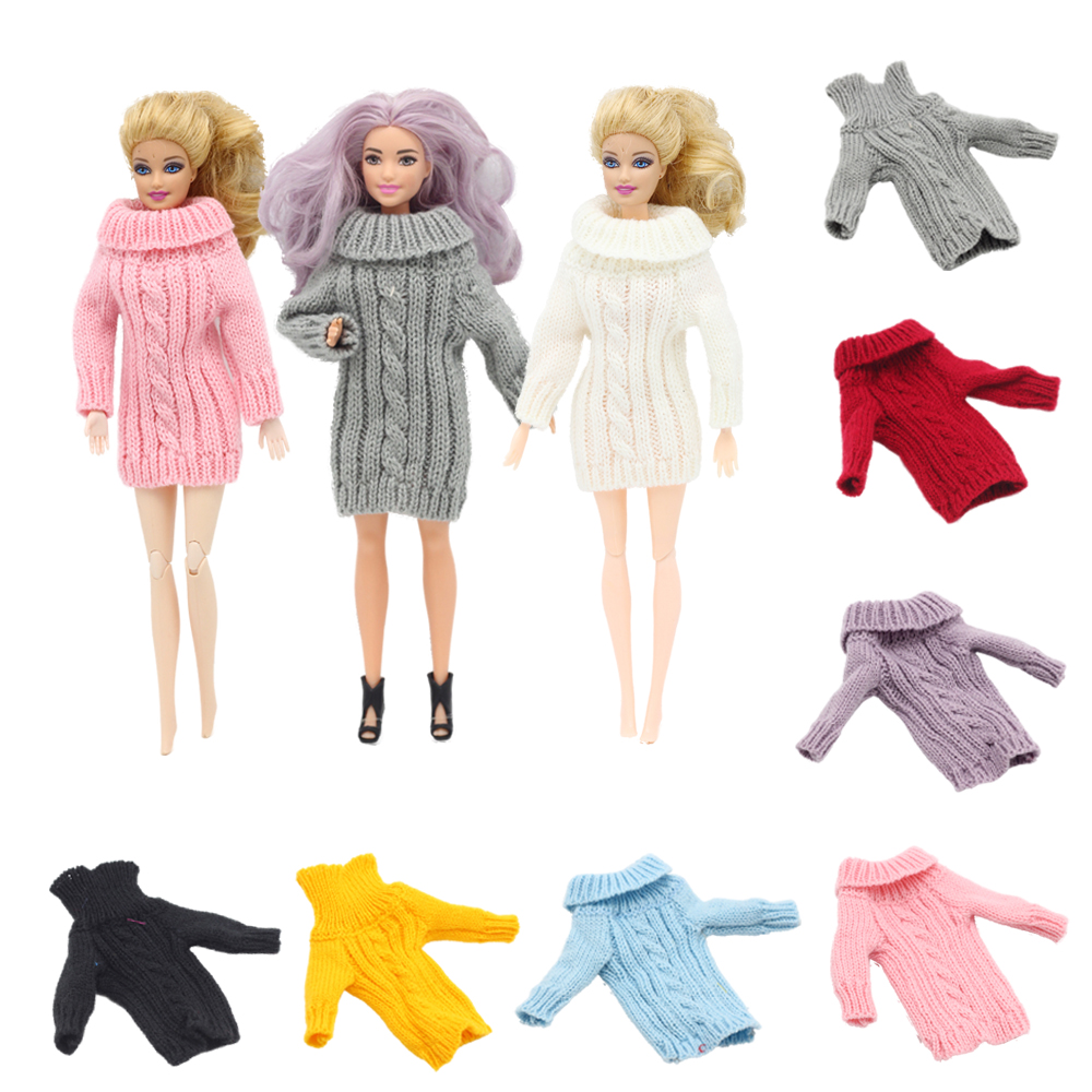 Pure Manual Doll Accessories Knitted Handmade Sweater Tops Coat Dress Clothes For 1/6 BJD Barbies Doll Girls Kids Toy Gifts