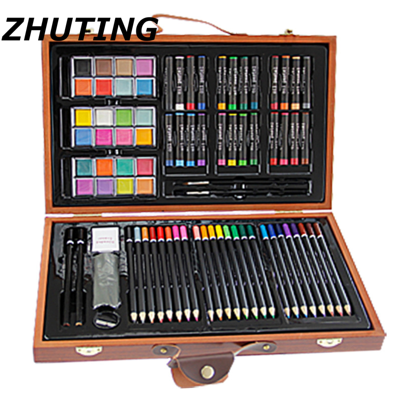 84pcs Art Paintings Set of Basic Watercolor Pens Art Marks Wooden Box Set Color Pencil Sketch Watercolor Painting Art Set