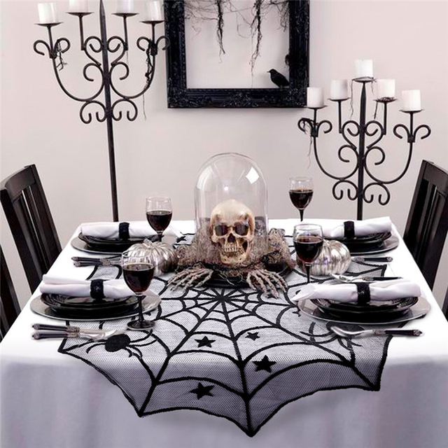 102cm Halloween Spider Web Tablecloth Black Round Lace Table Topper Covers  For Halloween Party Decoration