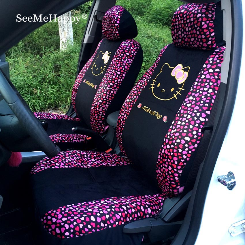 red heart styling universal hello kitty car seat covers winter short plush car pad seat cover. Black Bedroom Furniture Sets. Home Design Ideas