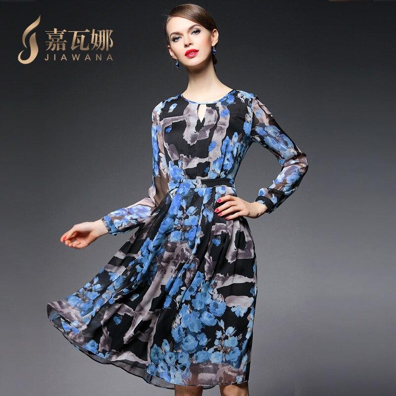 Mi Blue À De Robe Manches Soie Américain cou Et Gamme 2018 Robes Automne Femmes Longues Européen Impression Haut Nouvelle Casual Mousseline D'o Pour En OfAqgPn
