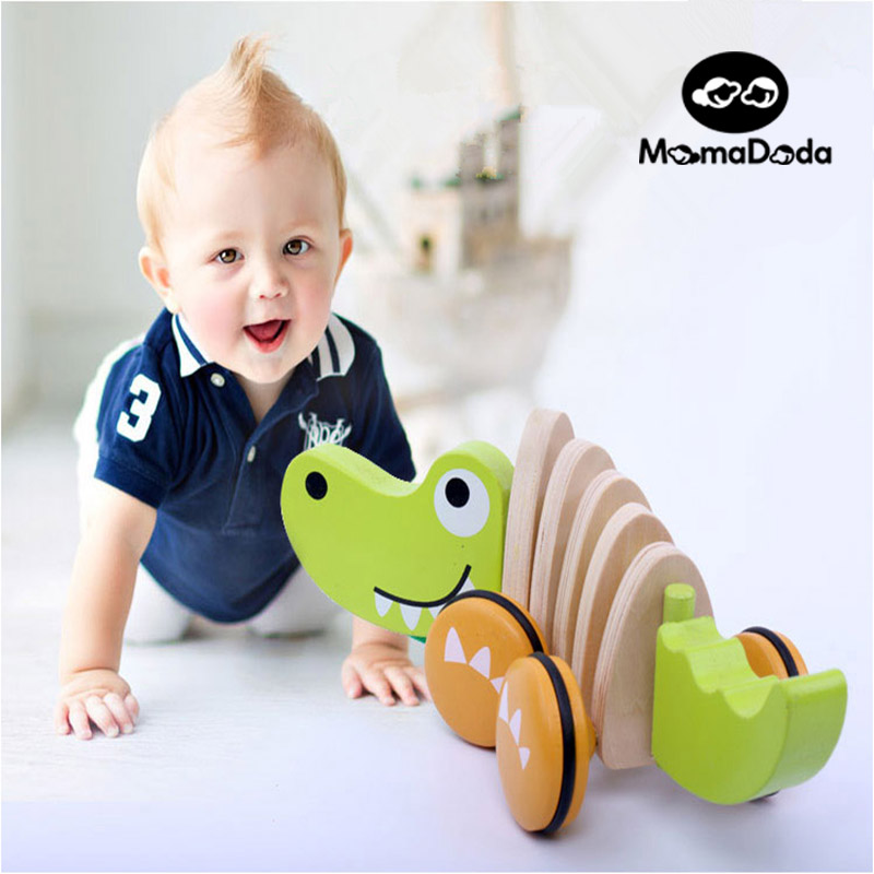 Wooden Dragging Car Animal Tractors Puppy Crocodile Shape Kids Baby Puzzle Early Childhood Educational Diecasts Toys Vehicles