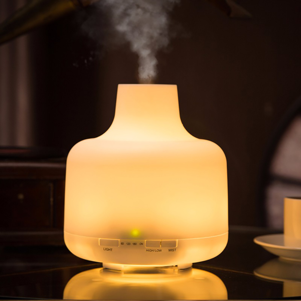 Vase Shape Aromatherapy Air Humidifier Ultrasonic Essential Oil Aroma Diffuser Warm White LED Light Home Office Mist Maker