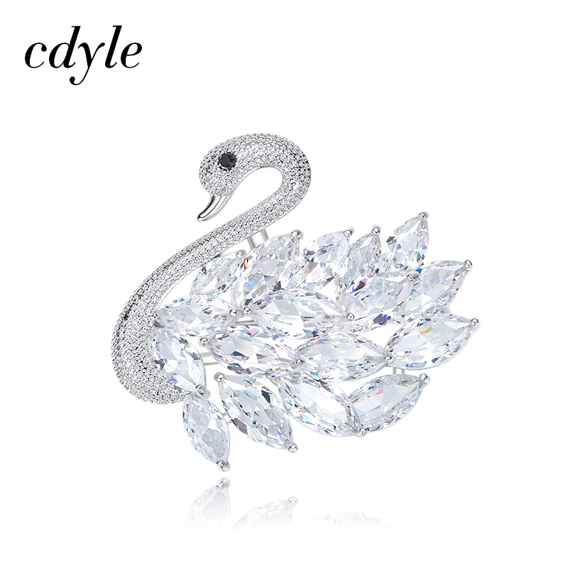 Cdyle Women Brooches Austrian Rhinestone Paved Fashion Chic Bijoux New Elegant Swan Shape Jewelry Romantic Valentine's Day Gift pair of chic rhinestone hollow out cube shape valentine s day gift earrings for women
