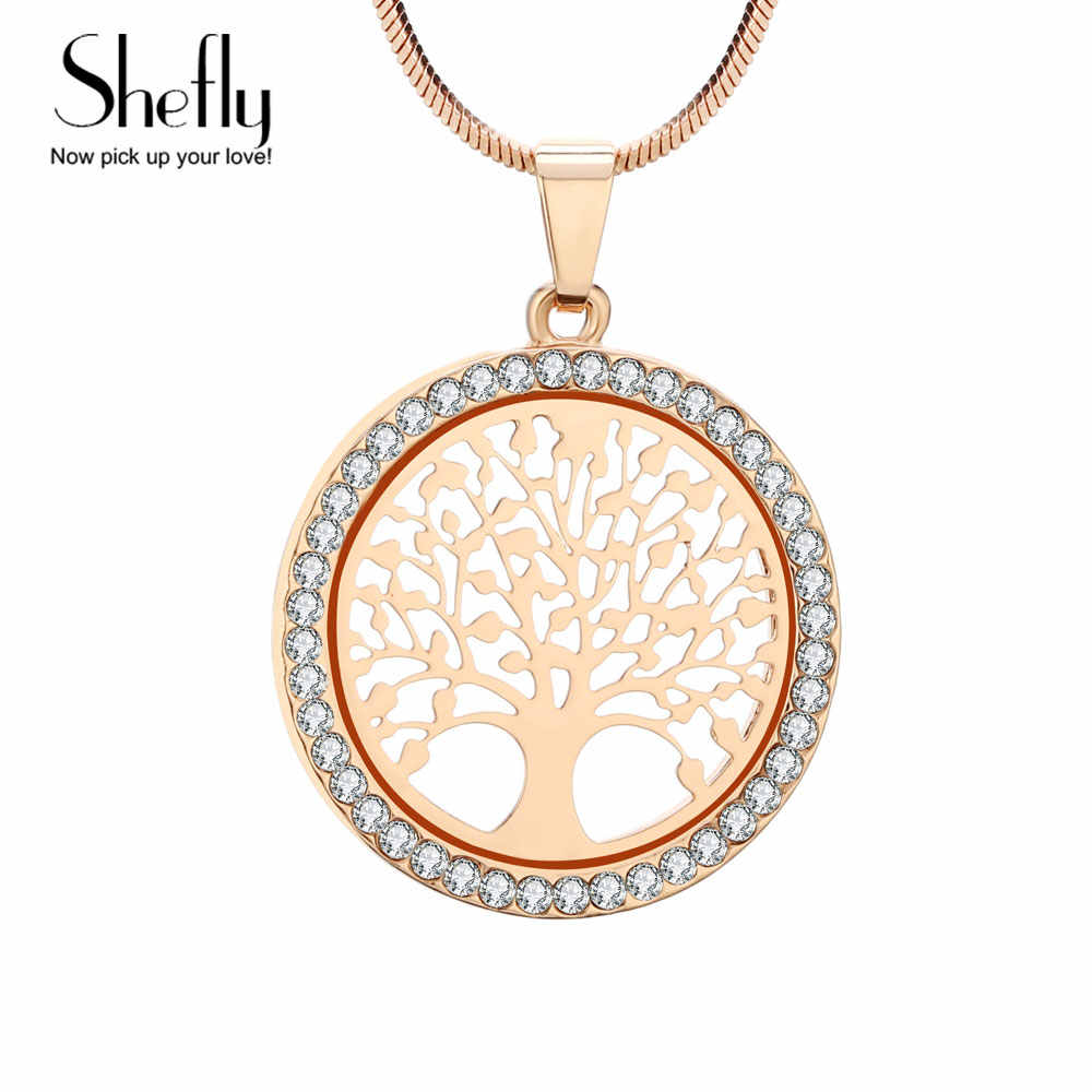 Tree Of Life Necklace Women Jewelry Silver Gold Color Chain Czech Crystal Pendant Necklaces XL07064