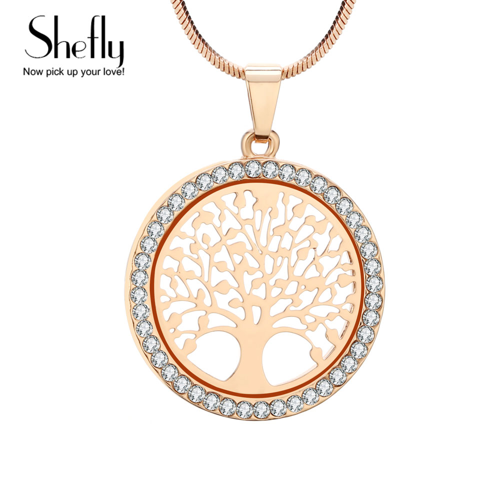 Életfa nyaklánc Női Ékszer ezüst arany színű lánc cseh kristály medál nyakláncok XL07064