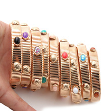 12mm Spring chain Bracelet gold Copper Natural stone Bracelets Bohemia de Madera Pulseira wholesale