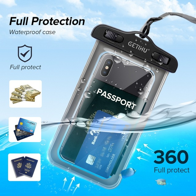 Getihu universal waterproof case for iphone x xs max 8 7 6 s 5 plus cover pouch bag cases for phone coque water proof phone case