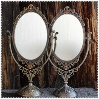 antique tin/bronze decoration makeup mirror double vanity mirror with mirror frame decorative framed mirror JHZ018