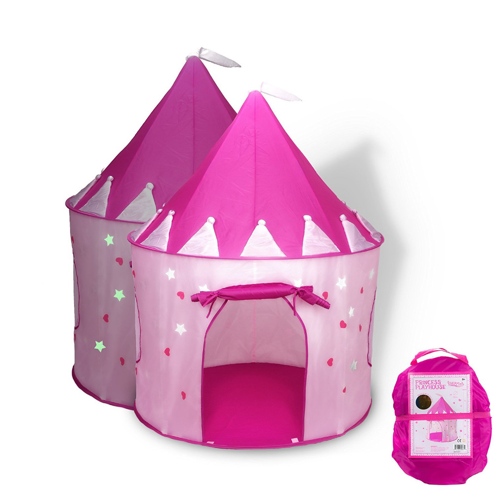 Litchi Princess Castle Play Tent with Glow in the Dark Stars,Foldable Pop Up Pink Play Tent/House Toy for Indoor & Outdoor Use