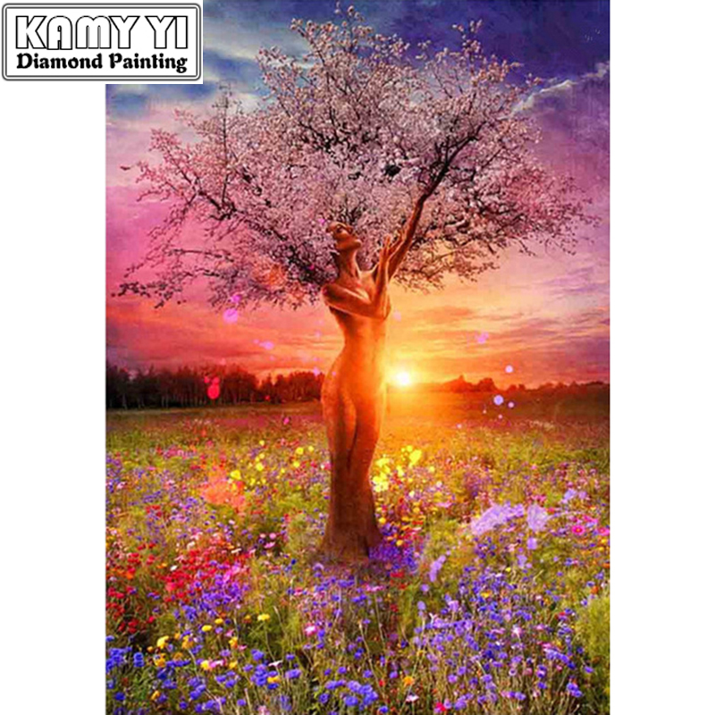5D Diy Embroidery Scenic People Tree Needlework Cross Stitch Square Resin Full Diamond Painting Landscape ZS