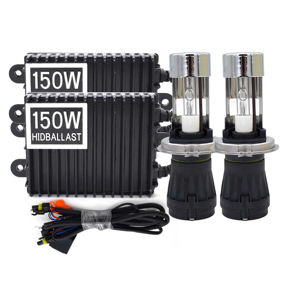 Premium High Power 12V 150W HID Ballast H4 Xenon Kit H4 Bixenon Bulb 4300K 5000K 6000K 8000K H4 Hi/Lo Bixenon Auto Headlamp Kit