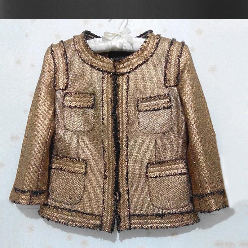 Veste en tweed doré printemps/automne veste en tweed brossé pour femmes