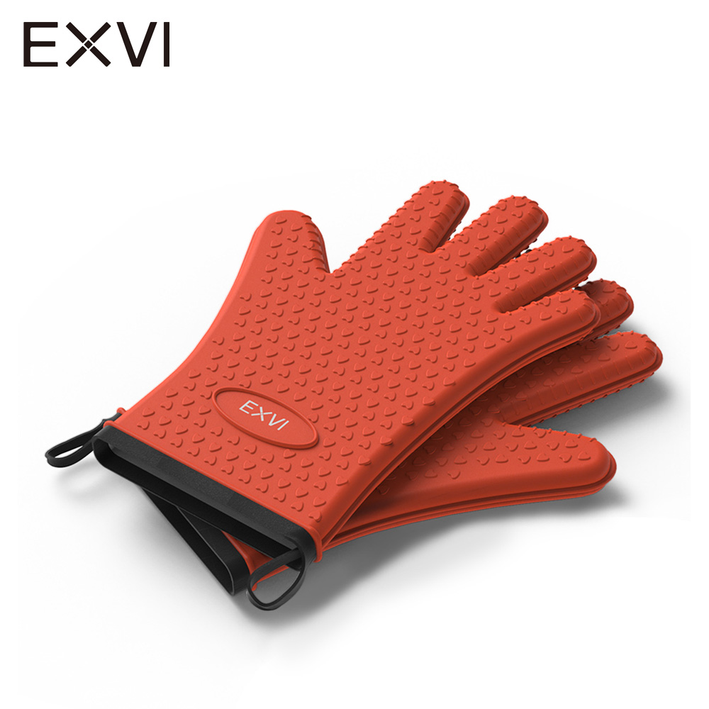 EXVI 2 pcs food grade Heat Resistant Thick Silicone Kitchen Barbecue Oven Glove Cooking BBQ Grill Glove Oven Mitt Baking Gloves