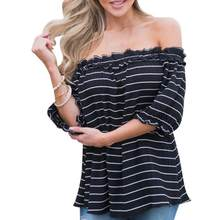 FEITONG 2017 Summer Striped Blouse Women Sexy Off Shoulder Short Sleeve Casual Black Tops Corduroy Shirt women tops blusas *25(China)