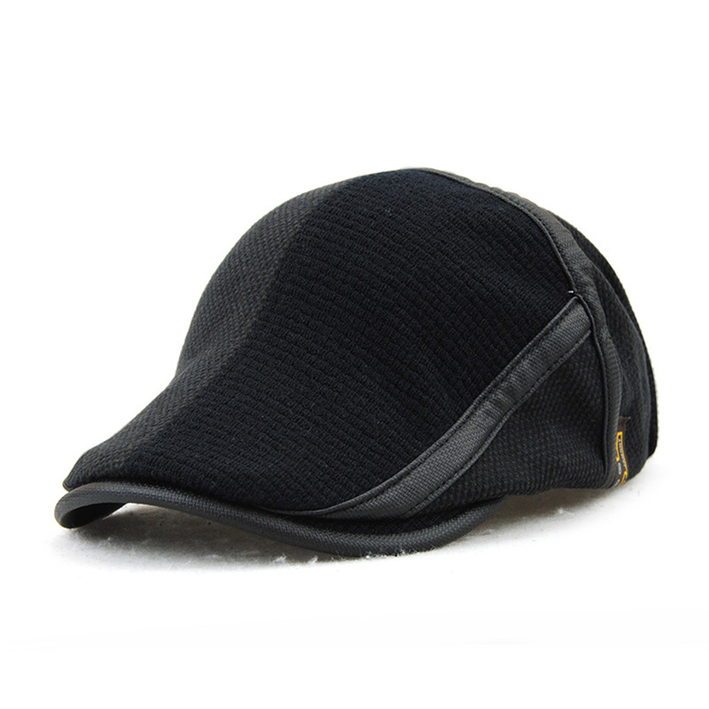 Fashion Knitting Mens Beret Hats Duckbill Casquette Boina Buckle Visors Golf Driving Flat Detective Hat Casquette Newsboy Cap