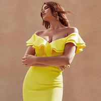 2018 Newest Fashion Off Shoulder Long Bandage Dress Elegant Yellow Black White Short Sleeve Bodycon Celebrity