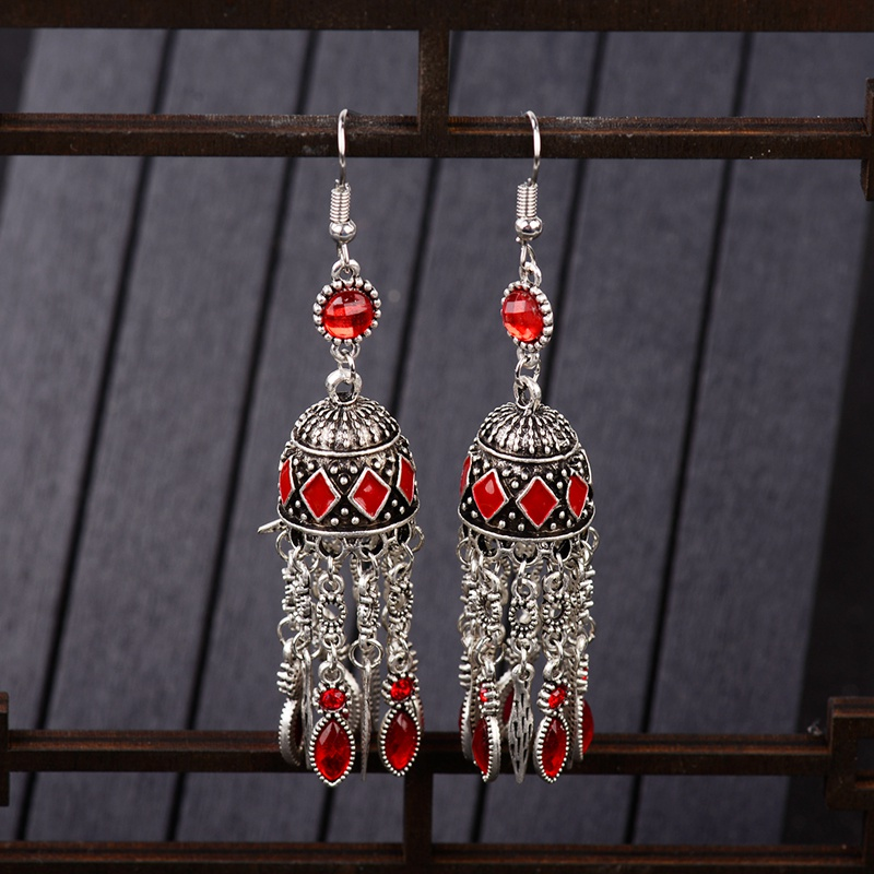 TopHanqi Egypt Sliver Alloy Long Tassel Earring For Women Indian Jhumka Jewelry Statement Boho Vintage Ethnic Dangling Earrings in Drop Earrings from Jewelry Accessories
