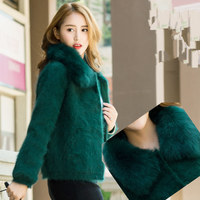 Autumn and winter thick mink velvet cardigan short section of long haired mink velvet coat round neck sweater fur collar