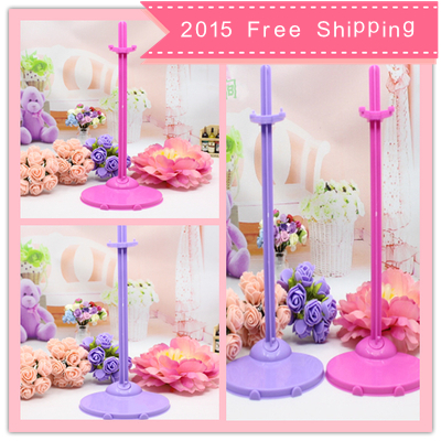 2015 Free shipping 10pcs/lot 2 colors mixed Doll Stand Display Holder For Barbie Dolls/Monster High dolls