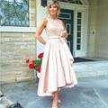 Elegante Rosa de Encaje Madre de Los Vestidos de Novia para La Boda 2017 Plus Size Con Cuentas Alto Bajo la Longitud del Té Una Línea de Partido de Tarde vestido