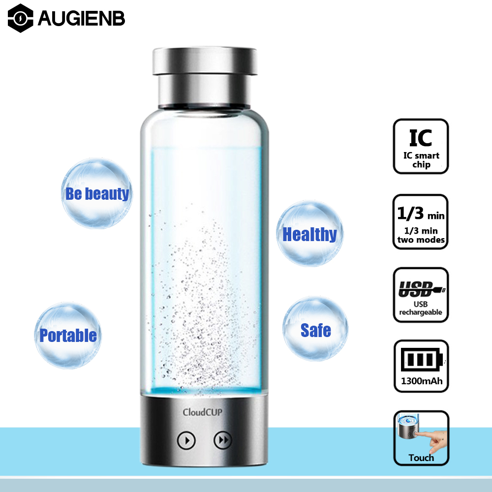 Augienb 480ml 2 mode Electrolysis High Rich-Hydrogen Water Bottle lonizer Generator Anti-Aging USB Rechargeable Cloud Water Cup