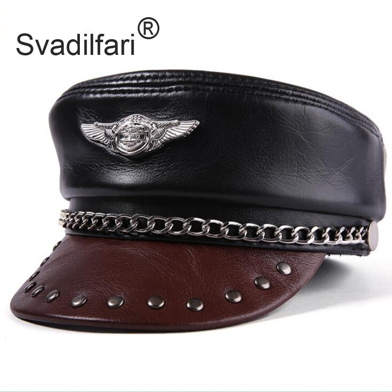 Svadilfari Unisex Real Leather Eagle Emblem Casquette Leisure Cap Locomotive Punk Flat Cowhide Leather Hats For Men And Women