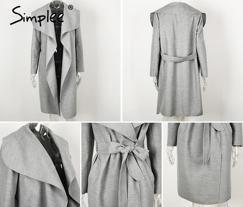 Simplee Black ruffle warm winter coat Women turndown long coat collar overcoat female Casual autumn 16 pink outerwear 17