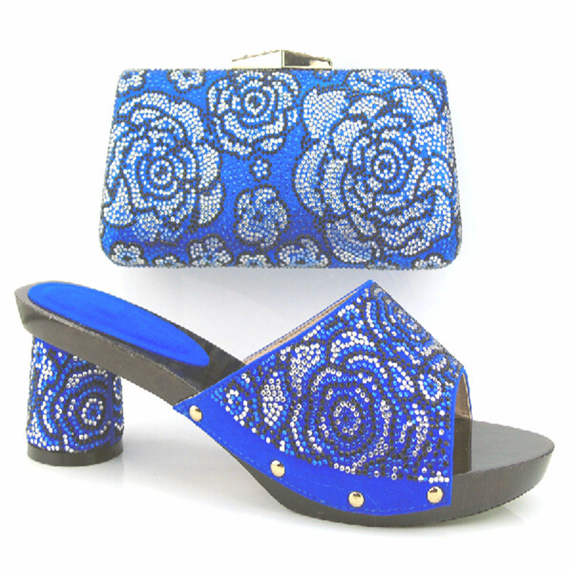 ФОТО African Sandals Italian Shoes and bags to match BLUE high quality lady shoes with bag set For Party 37-43 9CM HEELS