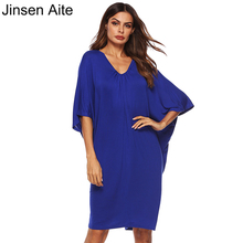 Jinsen Aite 2019 New Summer Batwing Sleeve Dress Women Fashion Casual Loose Party V-Neck Large Size Vestidos Mujer JS769