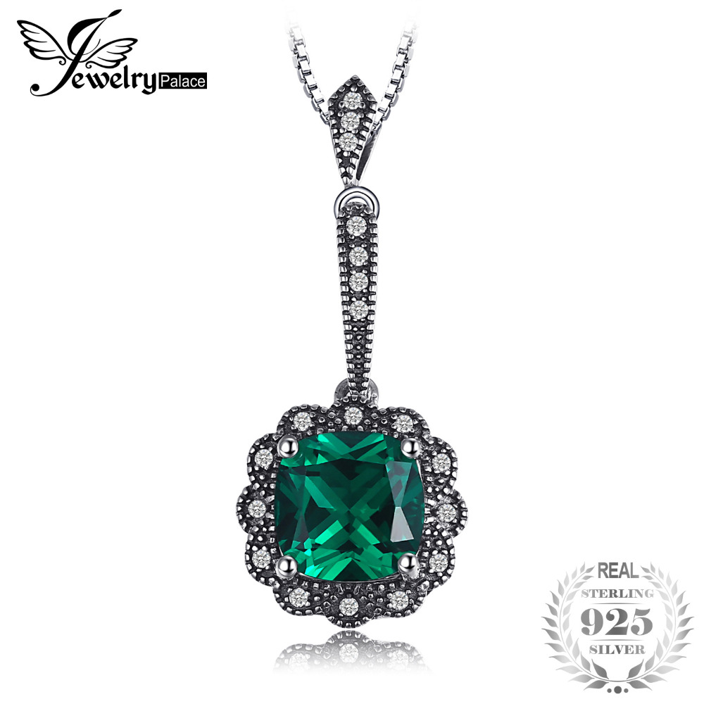 2.2ct Square Created Emerald 925 Sterling Silver Pendants For Women Vintage Jewelry Without a Chain