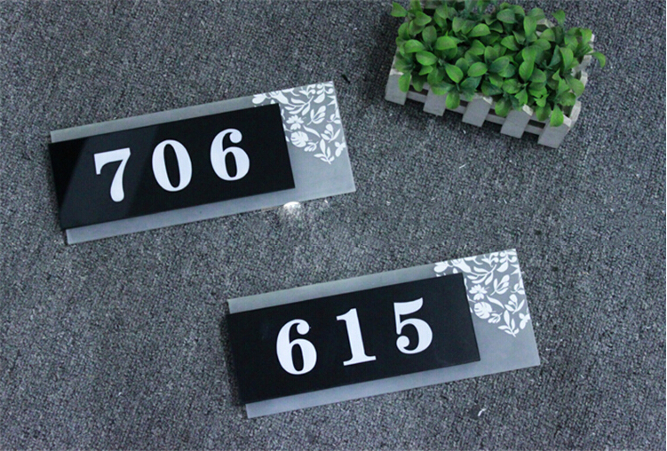 Acrylic number hotel balcony house number plate digital card room ...