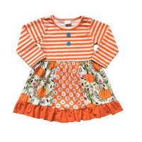 Hohe qualität baby mädchen rüsche hülse baumwolle kinder kleidung für halloween kürbis mädchen kleid