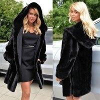 TUHAO Plus Size Women's Coats 2018 Women Autumn Winter Loose Faux Fur Coat Long Hooded Black Colour Fur Coat Oversize LQ321