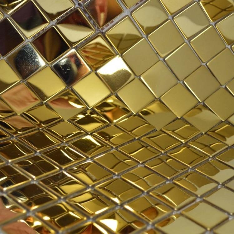 25 * 25 mm čtvercové zlaté nerezové kovové mozaikové dlaždice pro chodbu koupelnové obklady krbová kamna renovace mozaikové dlaždice
