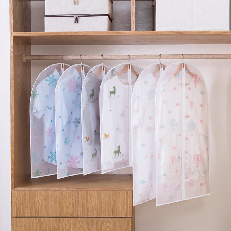 Cute Pattern Transparent Wardrobe Coat Storage Hanging Bag Clothes Dust Cover Hanging Bag Clear Garment Suit Dress Protect Cover