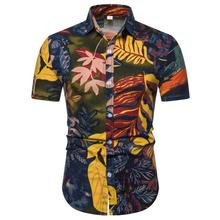 Hawaiian Shirt Mens clothing Dress Short sleeve Casual for Men Floral Blouse Summer