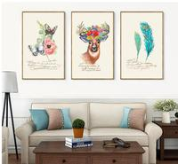 Butterfly Deer Peacock Feathers Nordic Poster 3 Panels Unframed Painting Modern Canvas Art Living Room Decorative Best Gift