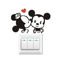 2pcs/set Creative Colorful Mickey Mouse Switch Stickers Wall Stickers Home Decoration Bedroom Parlor Style Decorations