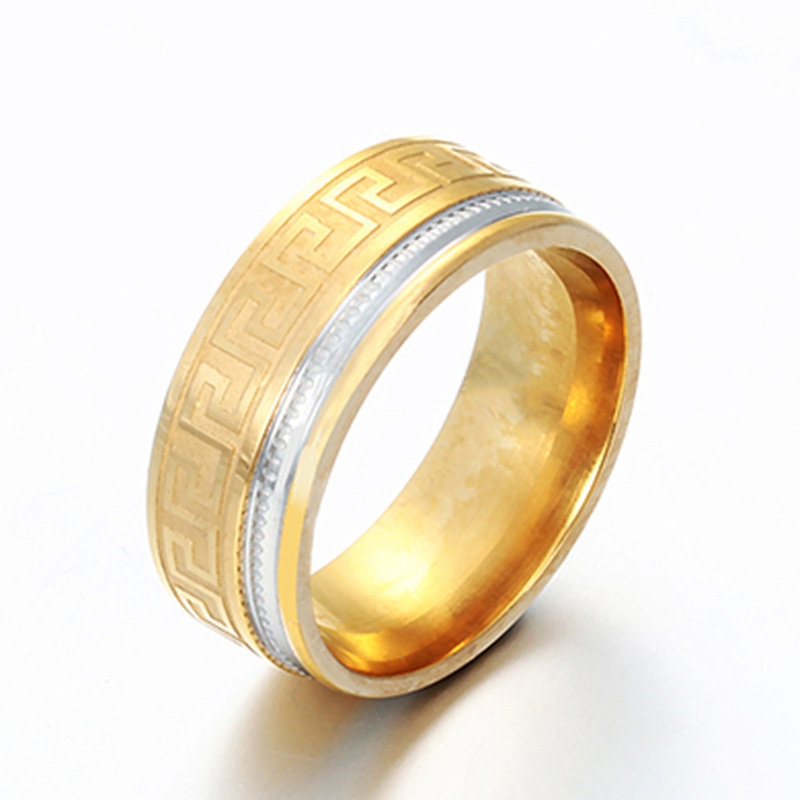 18k GOLD PLATED Men's Women's Stainless Steel Wedding Band Ring (8mm Wide) t12LZdh