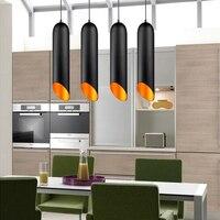Nordic Aluminum Tubular Pendant Lights E27 Black White Pendant Lamp Restaurant Bar Cafe Living Room Home