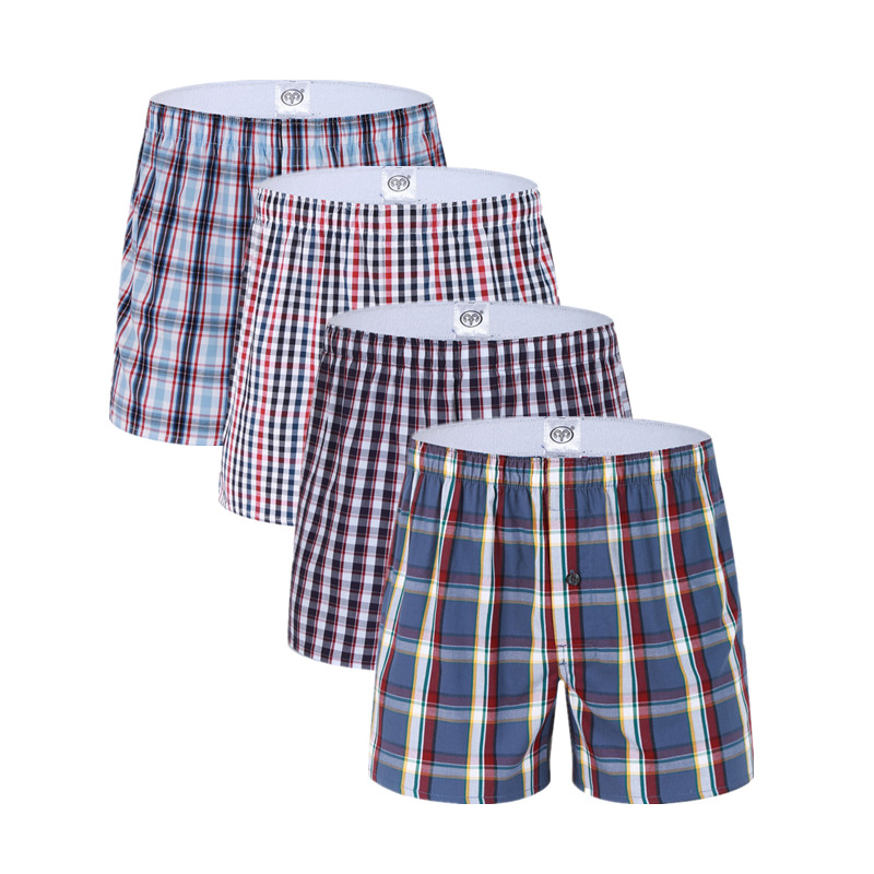 3 Pack Mens Underwear Boxers Shorts Casual Cotton Sleep Underpants High Quality Brands Plaid Loose Comfortable Homewear Striped