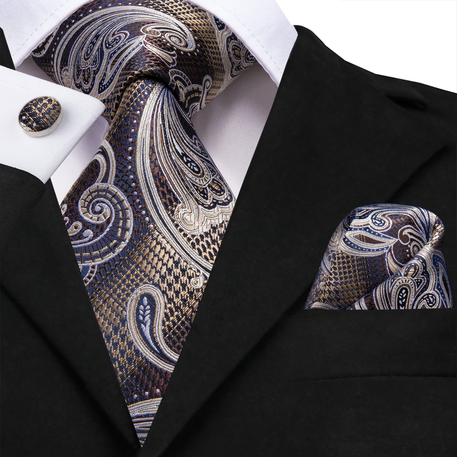 SN-3212 Men Tie For Men Necktie Paisley Silk Tie Cufflinks Set Jacquard Brown Formal Men's Tie For Wedding Party Business Hi-Tie